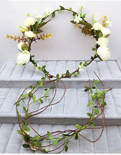 ZGP Couronne de Coiffure Couronne de Fleurs, Bandeau Fleur Garland Fête de la Mariée à la Main à la Main Ruban Bandeau Bracelet Bandeaux Beige (Couleur : A)