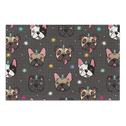 500 Piece Jigsaw Puzzles for Adults Cute Pugs and French Bulldogs with Unicorn Horn Difficult Artist Puzzle Intellectual Decompressing Home Decor for Adults Girls and Boys (20.5x14.9in)