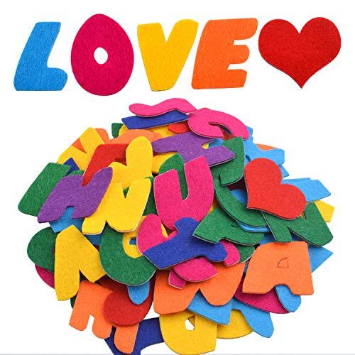Filzstanzteile selbstklebend, 104 Stück Filzstanzteile Buchstaben Alphabet Aufkleber A bis Z und 4 Stück Mini Herzen aus Filz