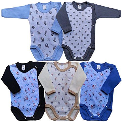 MEA BABY Unisex Baby Langarm Body aus 100% Baumwolle im 5er Pack, Baby Langarm Wickelbody mit Print, Baby Langarm Wickelbody für Mädchen, Baby Langarm Wickelbody für Jungen. (56, Boy)