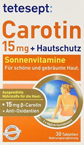 tetesept Carotin 15 mg + Hautschutz – Beta-Carotin & Antioxidantien – 5er Pack à 30 Tabletten [Nahrungsergänzungsmittel]