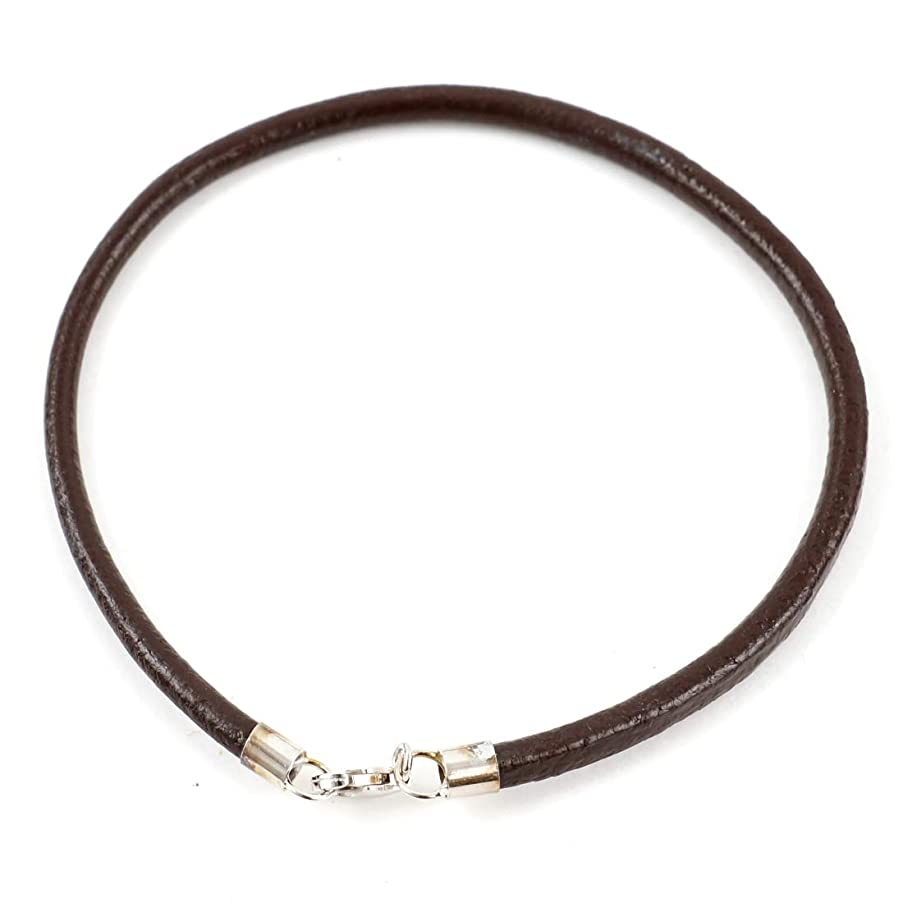 2pcs 8 inch Brown Leather Bracelet 3mm w/Sterling Silver Lobster Clasp for Large Hole Beads Charm Jewelry Craft Making SS223-B