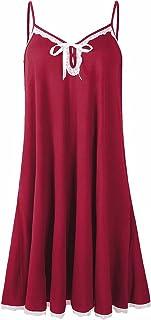 JollieLovin Women Plus Size Cami Dresses with Pockets and Adjustable Spaghetti Strap V Neck Sleepwear Women Nightgowns wit...