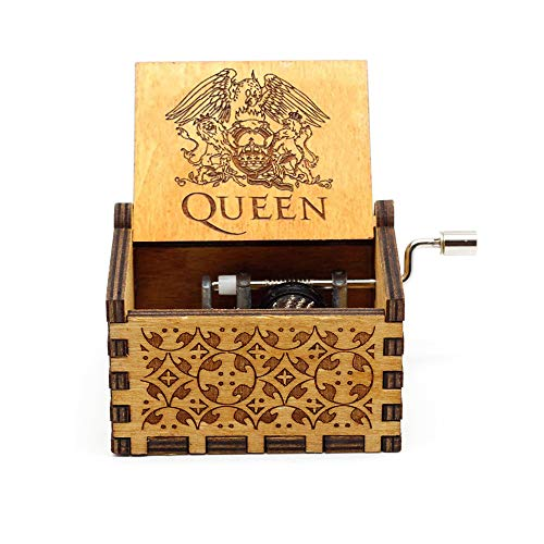 SIQI Queen Mini 18 Note Hand Crank Music Box Antique Carved Wood Musical GiftsCollections Home Decoration for Christmas Birthday Anniversary, Plays Bohemian Rhapsody Tune