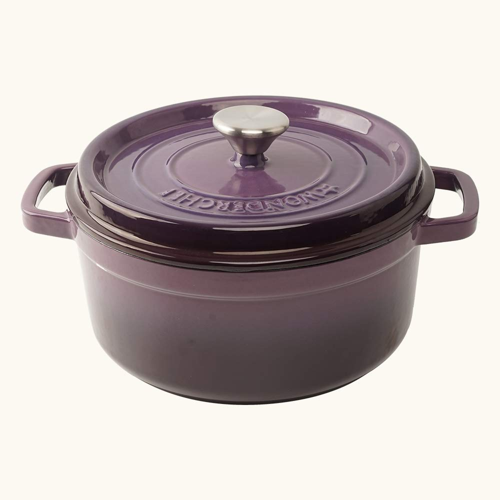 Wonderchef Ferro Cast-Iron Casserole with Lid - 26cm, 2.6L, 3.5mm, Purple