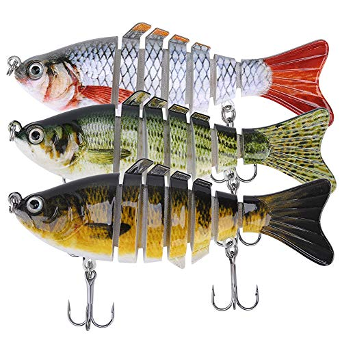 Lifelike Fishing Lures for Bass, Trout, Walleye, Predator Fish - Realistic Multi Jointed Fish Popper Swimbaits - Spinnerbaits Lure Fishing Tackle Kits - Freshwater and Saltwater Crankbaits - 3 Pack