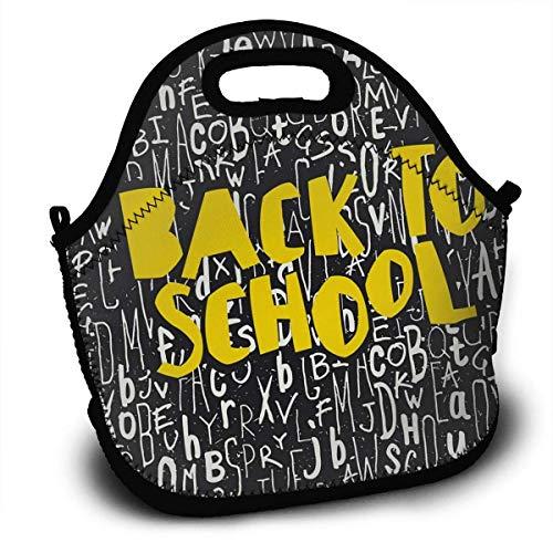 Lunch Container, Back to School Englisch Briefe Mittagessen Einkaufstaschen Lunch Bag Lunchboxen Handtasche Briefpapier Kinder Lunch Rucksack 27,5x29x14,5cm