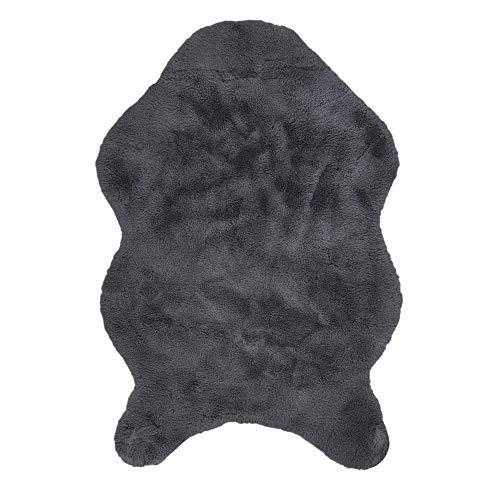 Pelzimitation Teppich Feines Haar, 60cm x 90cm, Grau