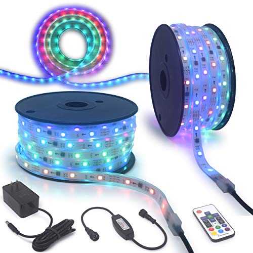 RGBLEDLIGHTS 90Ft 12V DreamColor Long Run Waterproof RGB Dream Colors Chasing LED Strip Light IC Chip Addressable Pixel Pinout Rope Light Christmas Holidays Home Garden Colors Racing Magic Lighting