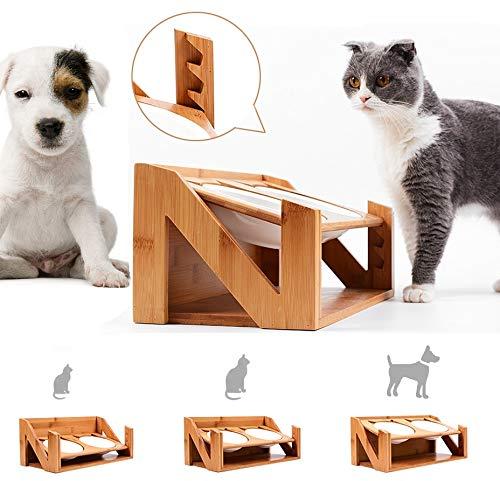 Am bulan Futterstation Katze Hundebar Holz Höhenverstellbar Bambus Doppel-futternapf für Katze Kleine Große Mittlere Hunde 2 Keramikschalen