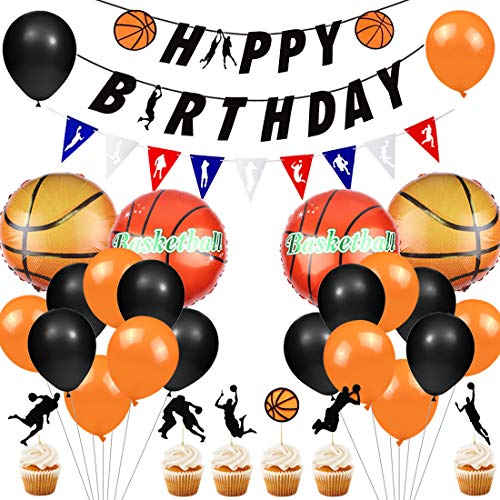JOYMEMO Basketball Party Supplies Basketball Geburtstag Banner Cupcake Topper Basketball Folienballons für Jungen Basketball Sport Thema Geburtstag Party Dekorationen