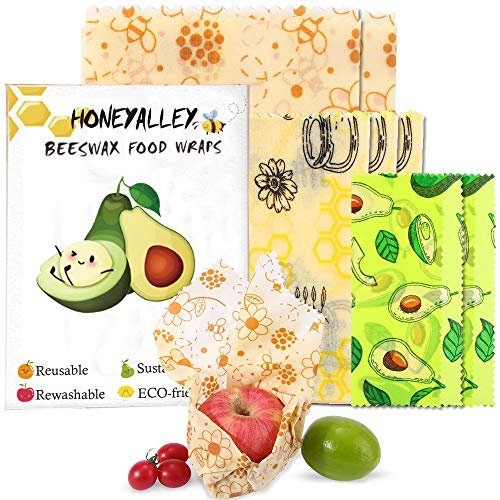 HONEYALLEY Reusable Beewax Food Wrap, 7 Pack Plastic Free Alternative for Food Storage, Eco Friendly Sustainable Bowl Cover, Zero Waste Biodegradable Sandwich Wrappers–3 Sizes (S, M, L)