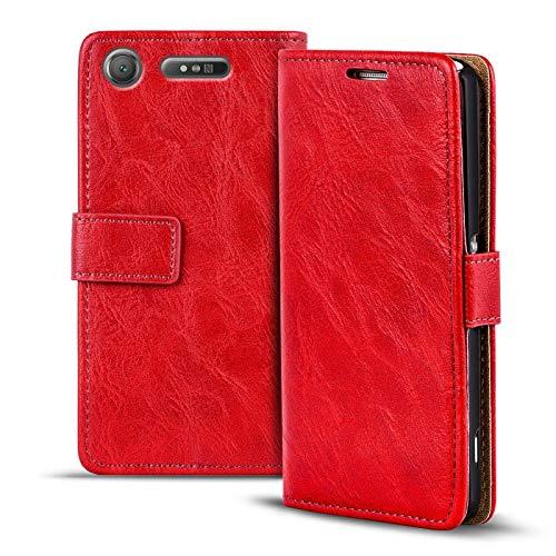 Verco Xperia XZ1 Compact Hülle, Premium Handy Schutzhülle für Sony Xperia XZ1 Compact Hülle PU Leder Wallet Tasche Retro Flipcase, Rot
