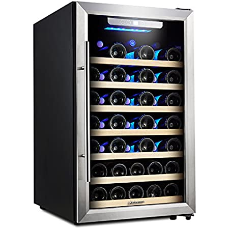 Kalamera 4.2 Cu.ft 50 Bottle Compressor Wine Refrigerator Single Zone with Touch Control, Stainless Steel Door and Handle (KRC-52SZF)