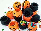 Funnlot Halloween Cauldron, 16PCS MiniBlack Witch Cauldron Pots Pumpkin Candy Bucket with Handle Plastic Cauldron for Treat or Treat Party Decorations Supplies Favors