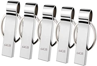 trancoss 5 Piezas Memoria USB 64GB Portátil Pendrive Flash Drives Mental USB Memory Sticks con Llavero (64gb)