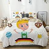 Juego de funda nórdica beige, chico bávaro con cabello rubio con símbolos de Oktoberfest, globo de cerveza y pretzel, juego de cama decorativo de 3 piezas con 2 fundas de almohada, fácil cuidado, anti