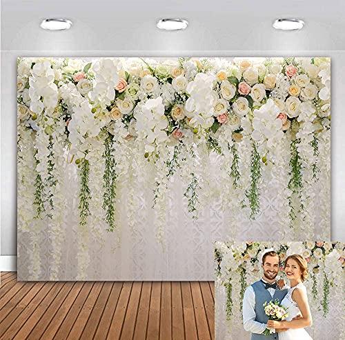 BINQOO Dulce cortina blanca simple flor telones de fondo de la foto de la ducha nupcial para la decoración de la boda cumpleaños carnaval niñas fiesta foto cabina