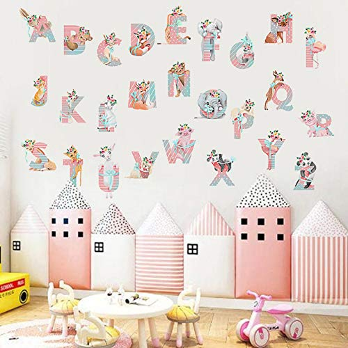TAOYUE Cartoon Animals Alphabet Wall Stickers for Kids Room Decoration Decals for Baby Nursery Living Room Home Decor Murals Poster PVC
