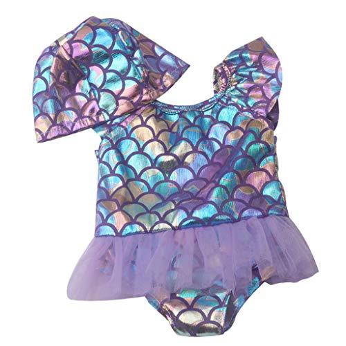 HomeDecTime Schöne Puppenkleidung Badeanzug Bademode Puppe Outfit für 18-Zoll-Mädchenpuppen - Lila, wie Beschreibung