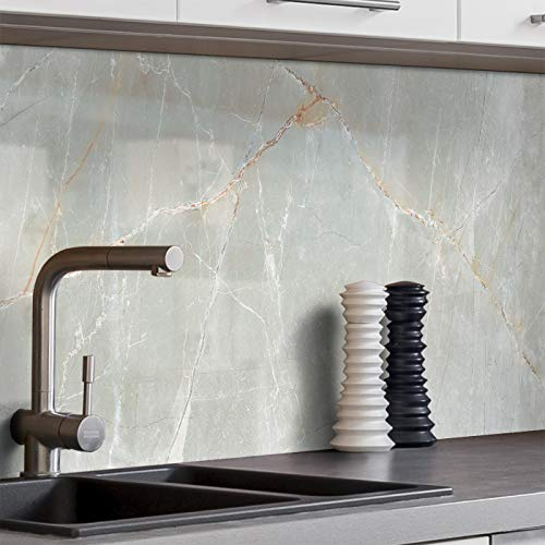 BilderKing Küchenrückwand selbstklebend 400cm x 60cm Stein-Optik Marmor grau Spritzschutz für Ihre Küche in Glasoptik, Absolute Deckung und Haftung auf Fliesenspiegel und sonstigen Untergründen