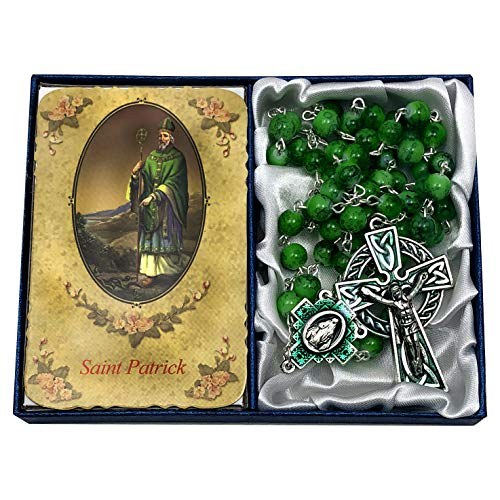 CB Catholic St Patrick Green Glass Marble Bead Rosary Gift Set