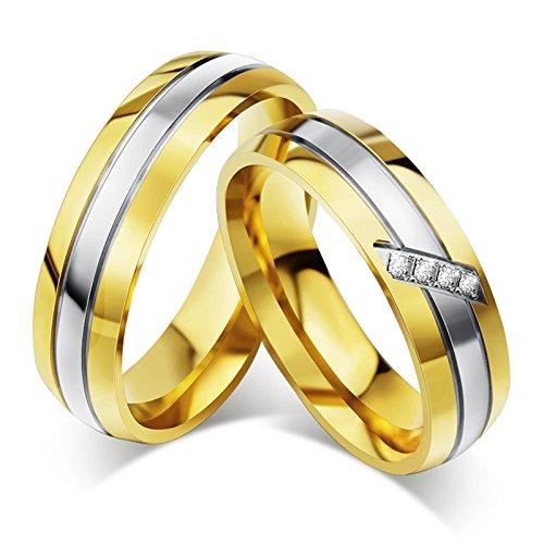 Blisfille 2 Piezas Anillo de Matrimonio para Mujer Acero Inoxidable de Cúbicos Zirconia Banda de Boda Compromiso Anillo Pareja Forma Redonda Silver Oro