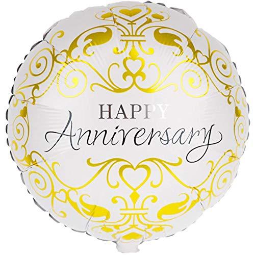 Doui, Happy Anniversary. Luchtballon, luxe gouden versiering folie-ballon, folieballon voor verjaardag, jubileum, meisjes jongens kinderverjaardag, themafeest, decoratie, cadeau-decoratie, DIY