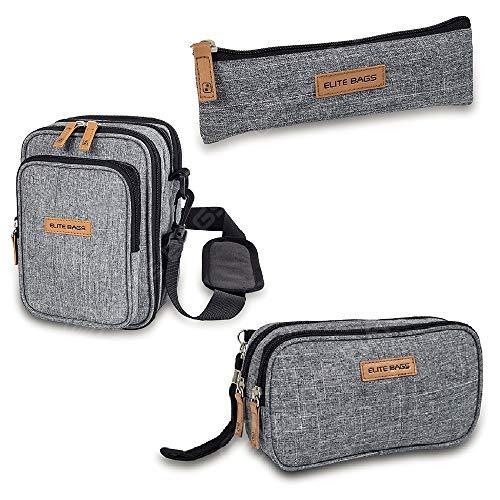 Lote de estuche Insulin's, bolsa Dia's y bandolera Fit's Evo, Elite Bags, Estampado bitono, para el transporte plumas de insulina y materiales para la diabetes