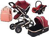 Ankon Sistema de viaje de cochecito liviano 3 en 1 Cochecito plegable Carrera portátil Carro de bebé Cochecito plegable Cochecito de aluminio Cochecito de aluminio altura para recién nacido hasta 3 añ