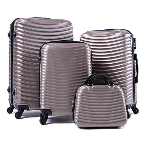 R.Leone Valigia da 1 Fino a Set 4 Trolley Rigido grande, medio, bagaglio a mano e beauty case 4 ruote in ABS 2030 (Oro, Set 4 Pezzi XS S M L)