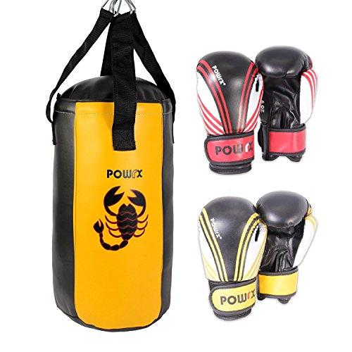 POWRX Boxset für Kinder/Jugendliche Boxsack und 2 Paar Boxhandschuhe (Rot/Schwarz und Gelb/Schwarz) 2 Fuß