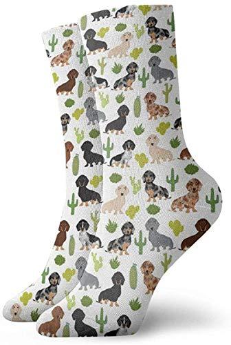Love girl Unisex Crew Socken Dackel Hund und Kaktus Mode Neuheit Dry Sportsocken Strümpfe 30cm