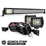 42' LED Light Bar Triple Row 576W Light Bars Off Road Lights 2pc 4inch 60W Driving Fog Lamps with Rocker Switch Harness Wiring for Trucks Polaris ATV UTV Jeep Boats