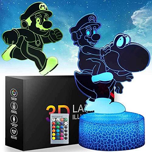 3D ilusión Mario Night Light – 2 patrones 16 cambio de color lámpara de decoración con control remoto decoración dormitorio niños iluminación creativa para niños y fans de Mario