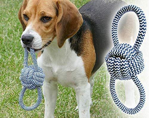 Hundespielzeug - Wurfball mit Zwei Schlaufen - Baumwollstrick - Wurfspielzeug - Hundeball - waschbar - Zahnpflege für Hunde - Affenfaust - nachhaltiges Hundespielzeug - für Welpen geeignet