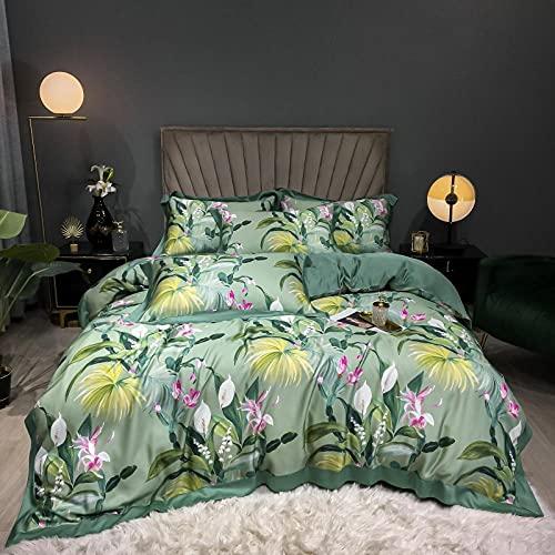 Exlcellexngce Juego De Ropa De Cama 160x200,Luxus Lila 100S Tencel Seide Blumen Druck Super Weiche Atmungsaktive Bettwäsche Set Doppel Bettbezug-Set Bett Blatt Kissen-10_Cama de 2.0m (4pcs)