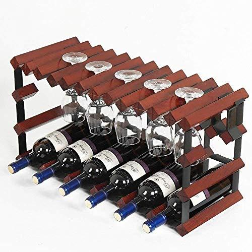 HJXSXHZ366 Estantería de Vino Estante del Vino, Mesa de 6 Botellas de Vino Estante Decorativo, 10 de sujeción Independiente botellero for la Barra/Cocina, Vino Tinto Estante de Vino pequeño