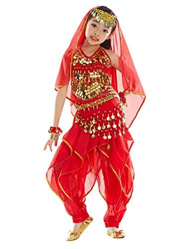BellyQueen Cojunto Danza Vientre Oriental Belly Dance Traje de Disfraz Carnaval Fiesta Set 7 para Nña 8-11 Años - Rojo