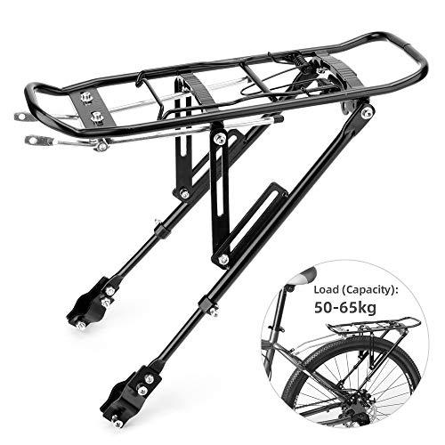 LYCAON Portaequipajes Bicicleta Trasero, Bicicleta Trasera Rack, Aleación de Aluminio Carga 50-65 KG para Bicicleta de Montaña Bicicleta de Carretera