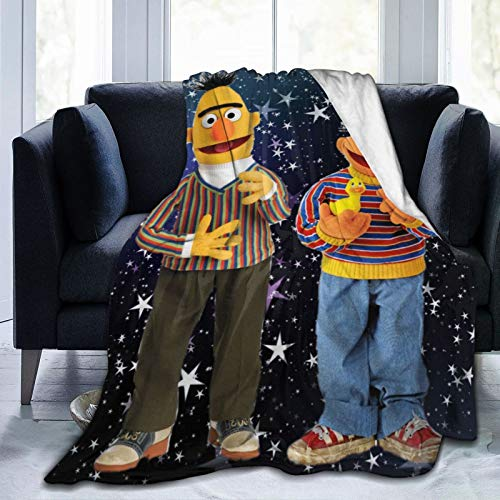 Snanna Sesame Street Bert and Ernie Ultra Soft Flannel Fleece Throws Blankets Stylish All Season Bedroom Living Room Super Warm Beach Blanket 60 X 50 Inch for Teens