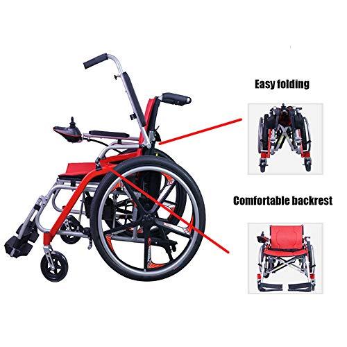 Opvouwbare elektrische rolstoel, draagbaar, inklapbaar, PG-regelaar, vier ronde elektrische rolstoel, geschikt voor: senioren, gehandicapten, (rood. 200 W * 2) voor gehandicapte ouderen