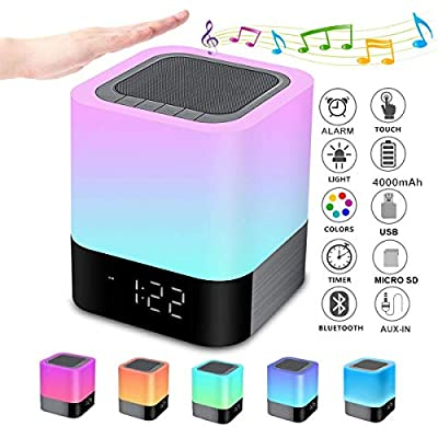 Night Lights Bluetooth Speaker, Alarm Clock Bluetooth Speaker Touch Sensor Bedside Lamp Dimmable Multi-Color Changing Bedside Lamp, MP3 Player, Wireless Speaker with Lights from Gallstep