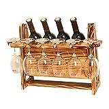 YANGYUAN Wine Rack Decorazioni Legno for Il Vino Solido Wine Bottle Holder Gabinetto invertito della Famiglia Red Cup Holder Display Rack Europeo Wine Rack (49 * 23 * 35 cm) (Color : B)