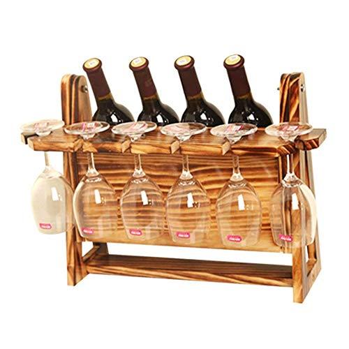 Jiadubao - Soporte para botellas de vino de madera maciza para decoración de vino, color rojo