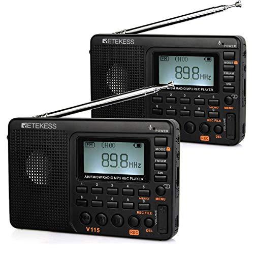 Retekess V115 Radio Portátil, Am FM SW Radio de Onda Corta, con Reproductor MP3, Grabadora Rec, Temporizador de Sueño (Negro, 2 Piezas)