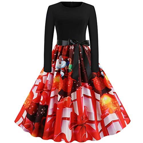Weihnachtskleider Damen, ZHANSANFM Frauen Geschenk Vintage Christmas Print Partykleid Bowknot Langarm Oansatz Winter RundhalsKleider Karneval Kostüm Weihnachten Abend Swing Kleid (M, rot1)