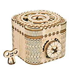 【Memorable Treasure Box】Unique Treasure Box,could be used as vintage style jewelry box.These elegant wooden treasure boxes are crafted with premium plywood precisely cut to let you build this box model for lasting use. 【Password Setting】You need set ...