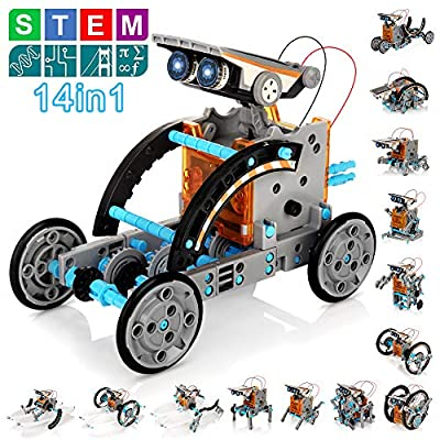 Solar Robot Kit for Kids, 14-in-1 Educational STEM Science Toy, Solar Power Building Kit DIY Assembly Battery Operated Robotic Set for Kids, Teens and Science Lovers(Battery Include)