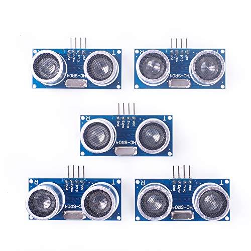 ANGEEK 5 Stück HC-SR04 Ultraschall Sensor Distanzsensor Module Abstand Distance Sensor für Arduino UNO, MEGA2560, Nano, Roboter, XBee, ZigBee, Rapsberry Pi usw.